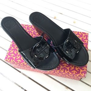 Tory Burch Patti Wedge Sandal black patent 9.5